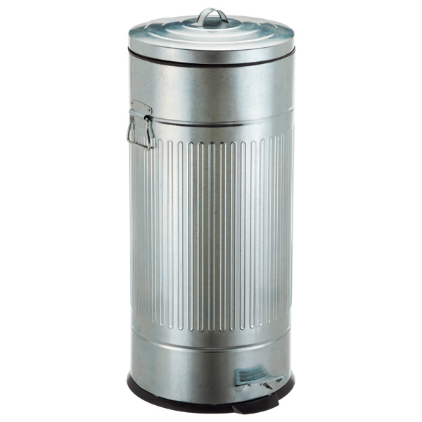 8 gal new york galvanized step trash can the container store. Black Bedroom Furniture Sets. Home Design Ideas