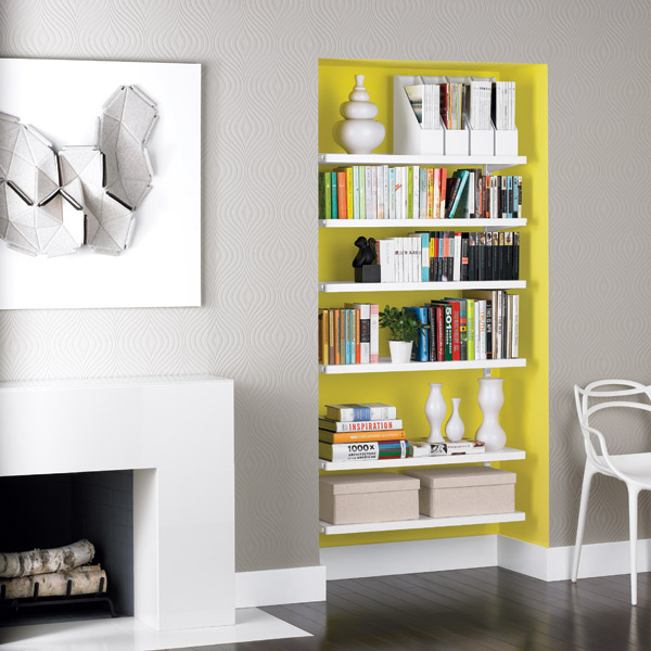 White Elfa Décor Bookshelves