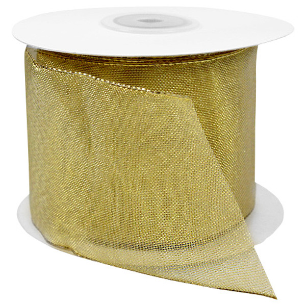 Gold Sheer Metallic Wired Ribbon
