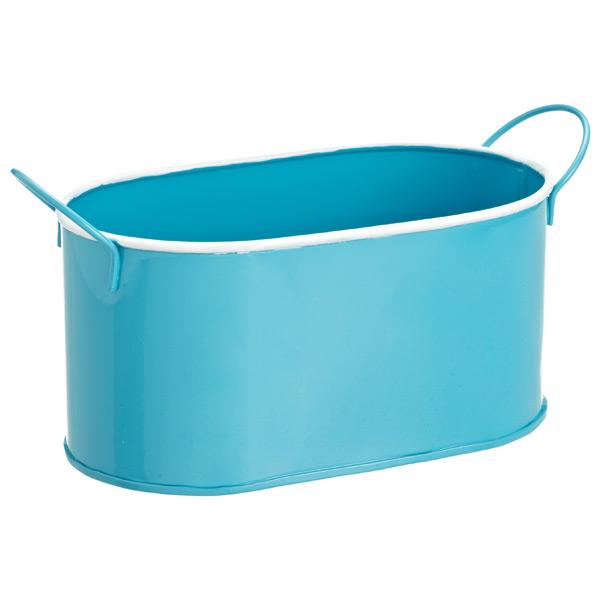 Oval Metal Bin Blue