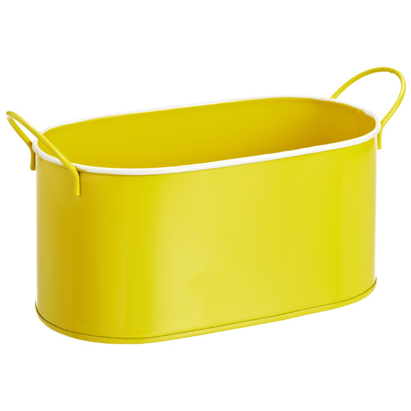 Oval Metal Bin Yellow