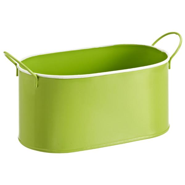 Oval Metal Bin Green