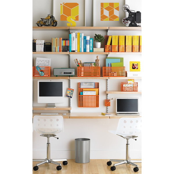 Birch platinum elfa d cor study wall the container store Study room wall cabinets
