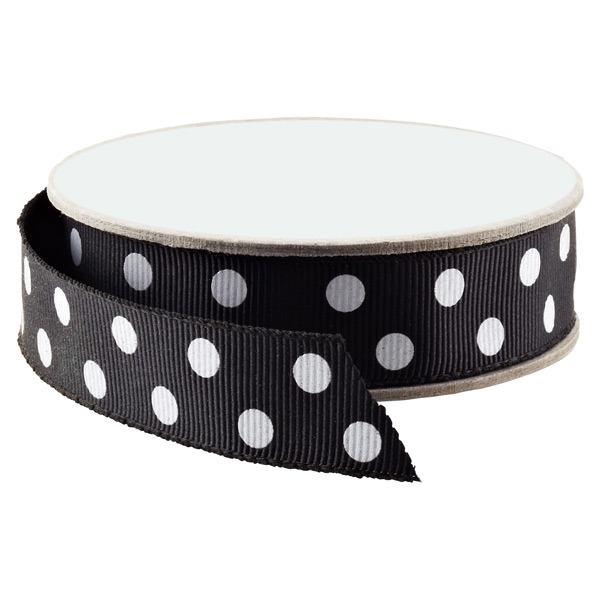 Black & White Polka Dot Grosgrain Ribbon
