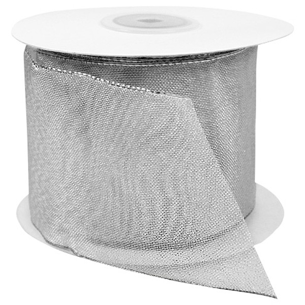 Silver Sheer Metallic Wired Ribbon
