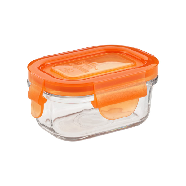 5.1 oz. Glass Container Rectangle Orange Lid