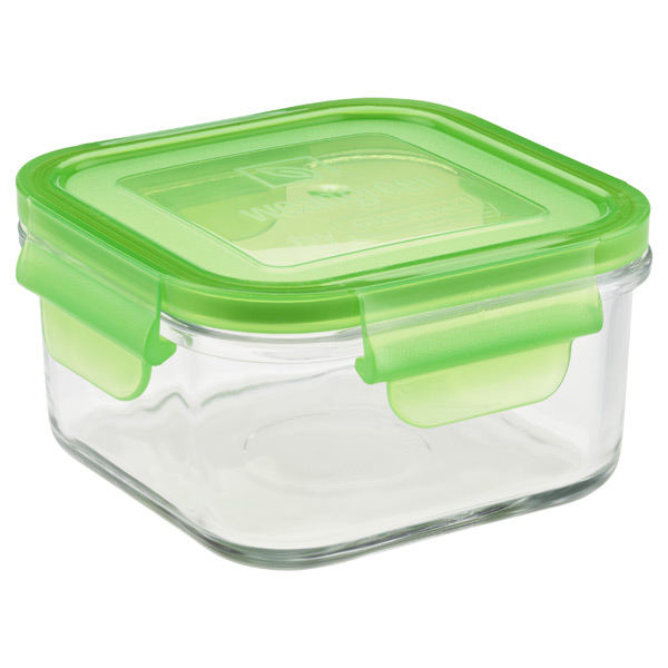 16 oz. Glass Container Square Green Lid