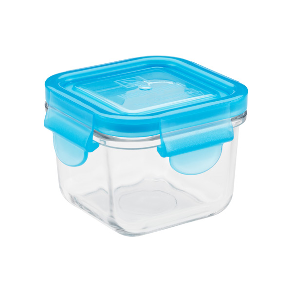 4 oz. Glass Container Square Blue Lid