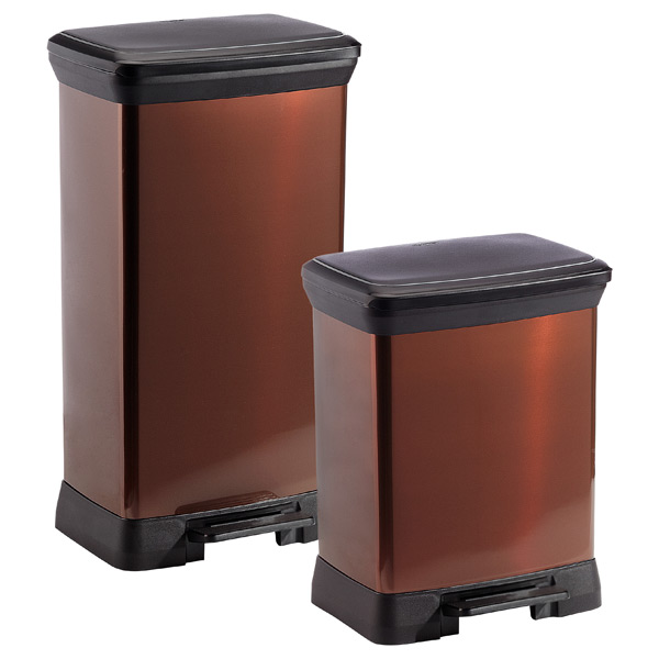 bronze deco step trash cans the container store. Black Bedroom Furniture Sets. Home Design Ideas