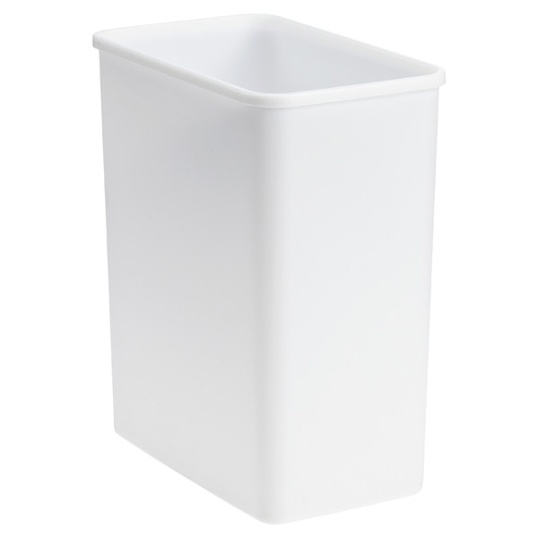 White modern feel 4 2 gal trash can the container store - Modern wastebasket ...