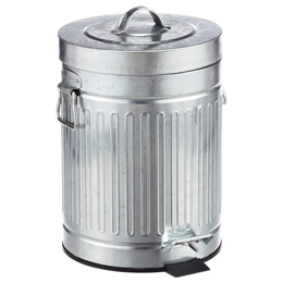 1 3 gal new york galvanized step trash can the container store. Black Bedroom Furniture Sets. Home Design Ideas