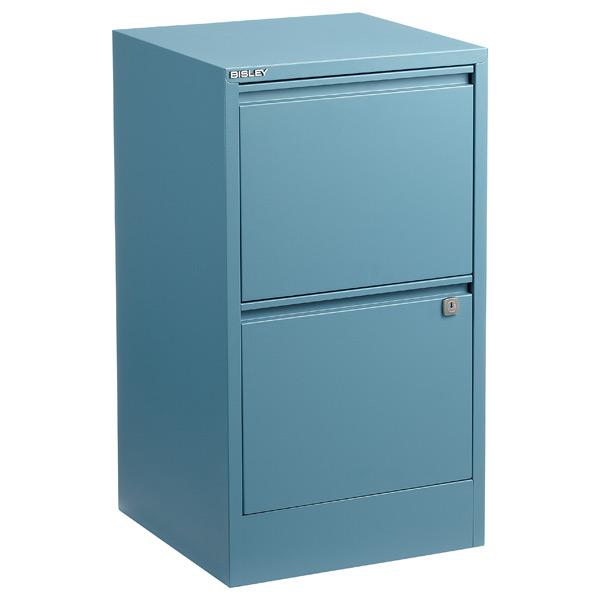 Bisley 2-Drawer Locking Filing Cabinet Slate Blue