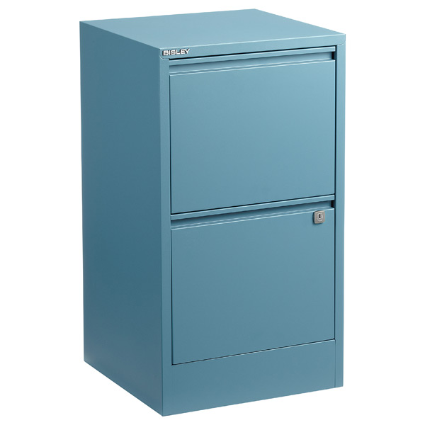 Bisley 2-Drawer Locking Filing Cabinet Slate Blue