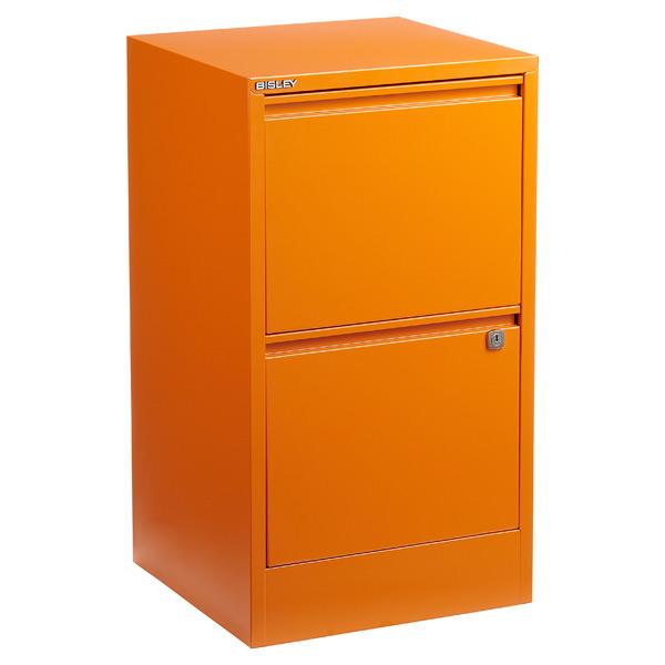 Bisley 2-Drawer Locking Filing Cabinet Orange