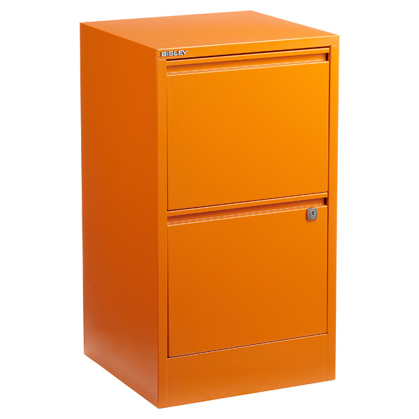 ... Bisley 2-Drawer Locking Filing Cabinet Orange