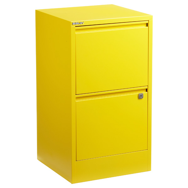 Bisley 2-Drawer Locking Filing Cabinet Yellow
