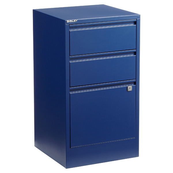 Bisley 3-Drawer Locking Filing Cabinet Oxford Blue
