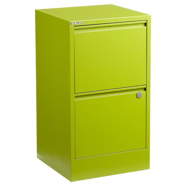 Bisley 2-Drawer Locking Filing Cabinet Green