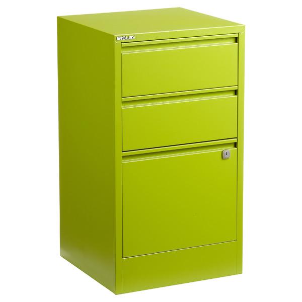 Bisley 3-Drawer Locking Filing Cabinet Green