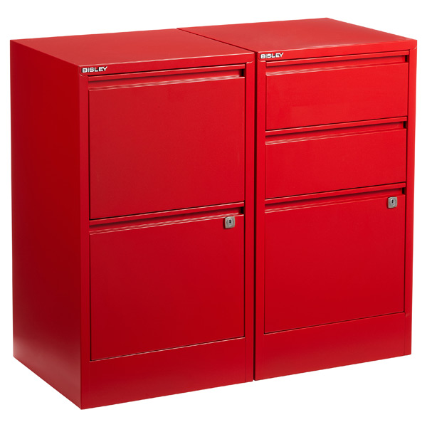 Bisley Red 2- & 3-Drawer Locking Filing Cabinets