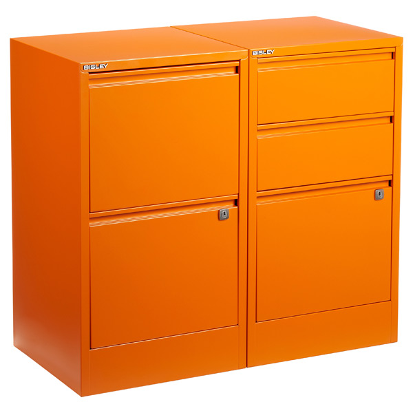 Bisley Orange 2 Amp 3 Drawer Locking Filing Cabinets The