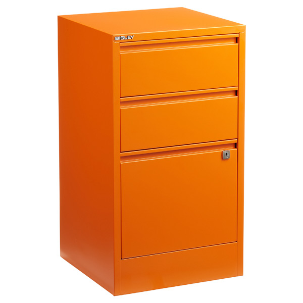 Bisley 3-Drawer Locking Filing Cabinet Orange