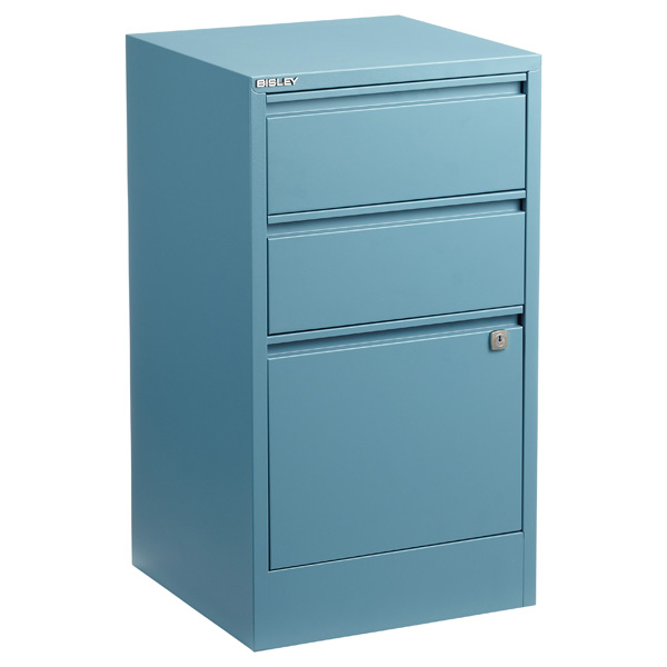 Bisley 3-Drawer Locking Filing Cabinet Slate Blue