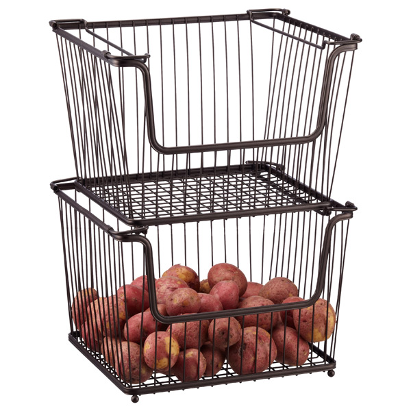 Large Bronze York Open Stackable Basket