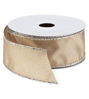 Taupe Shimmer Grosgrain Wired Ribbon