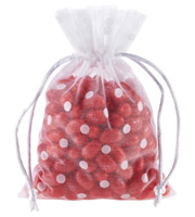 White Flocked Dots Sheer Drawstring Sack