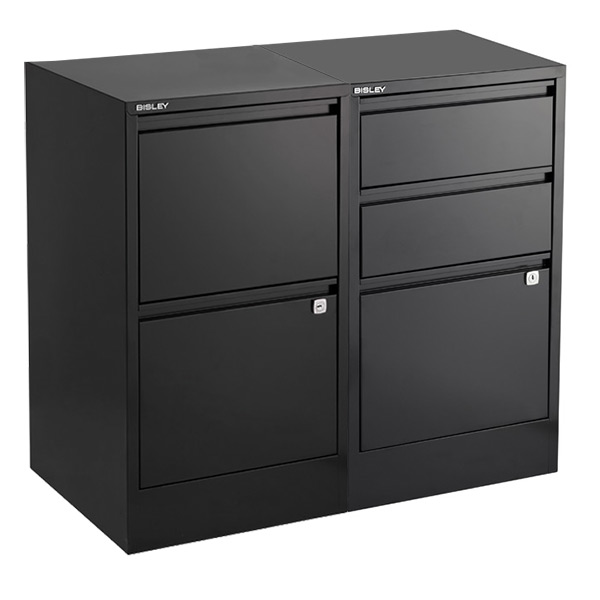 Bisley Black 2- & 3-Drawer Locking Filing Cabinets