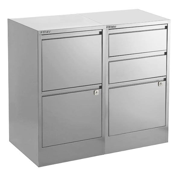 Bisley Silver 2- & 3-Drawer Locking Filing Cabinets