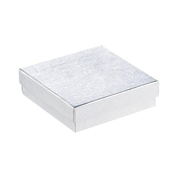 "3-1/2"" sq. x 1"" h Jewelry Gift Box Silver"