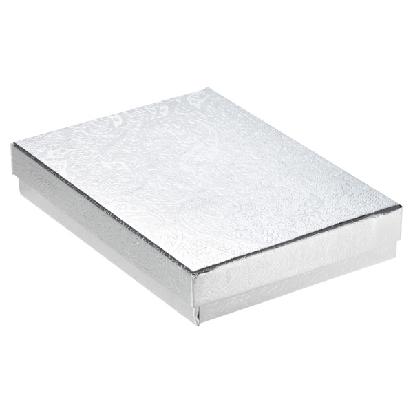 "5-1/4"" x 3-3/4"" x 3/4"" h Jewelry Gift Box Silver"