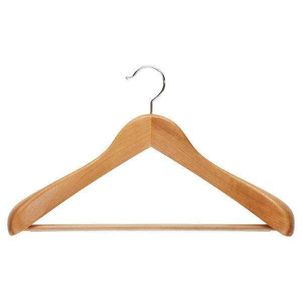 Superior Coat   Hanger with Ribbed Bar Natural