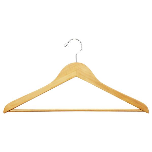 Basic Shirt Hanger with Ribbed Bar Natural Pkg/6
