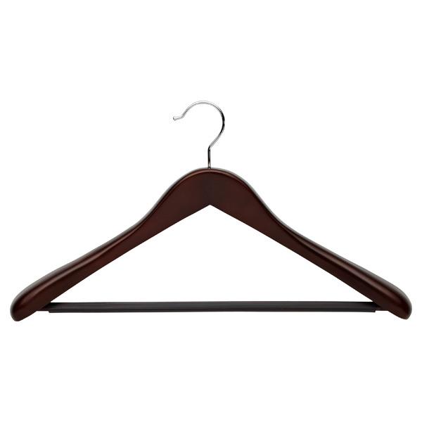 Superior Oversized Coat Hanger with Ribbed Bar Walnut