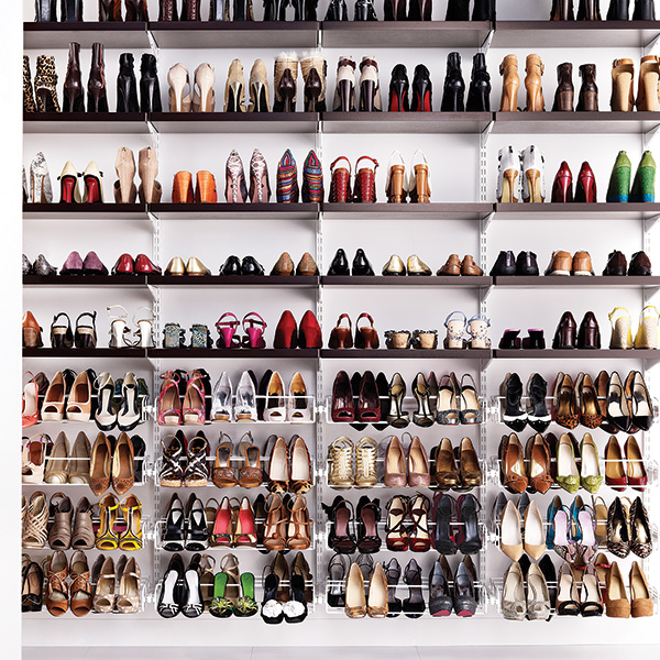 Walnut & White elfa Shoe Closet