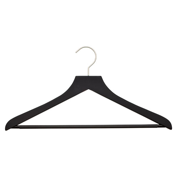 Basic Black Soft Matte Wooden Hangers Pkg3