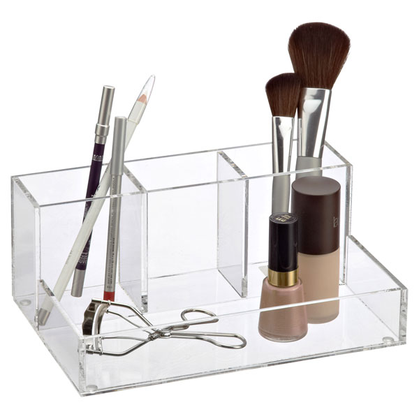 4 section acrylic makeup organizer the container store. Black Bedroom Furniture Sets. Home Design Ideas