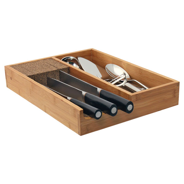 Bamboo Knife Dock with Utensil Holder