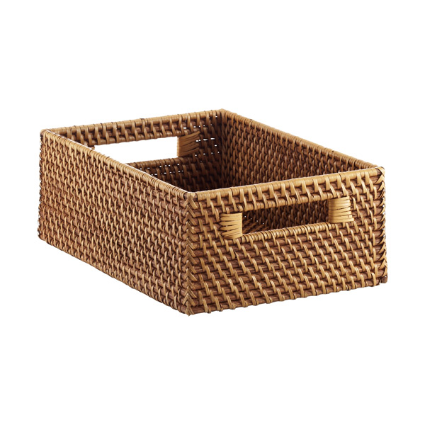 Medium Rattan Bin w/Handles Copper