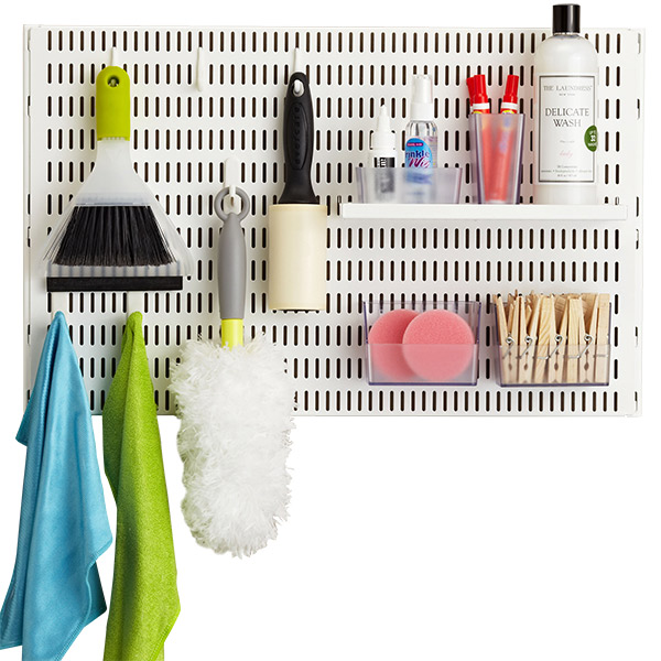 White Elfa Utility Pegboard Laundry Room Solution