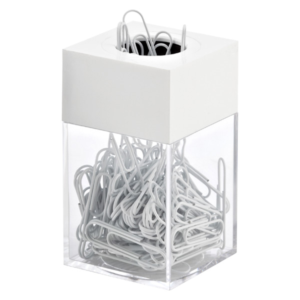 Paper Clip Dispenser & Clips White