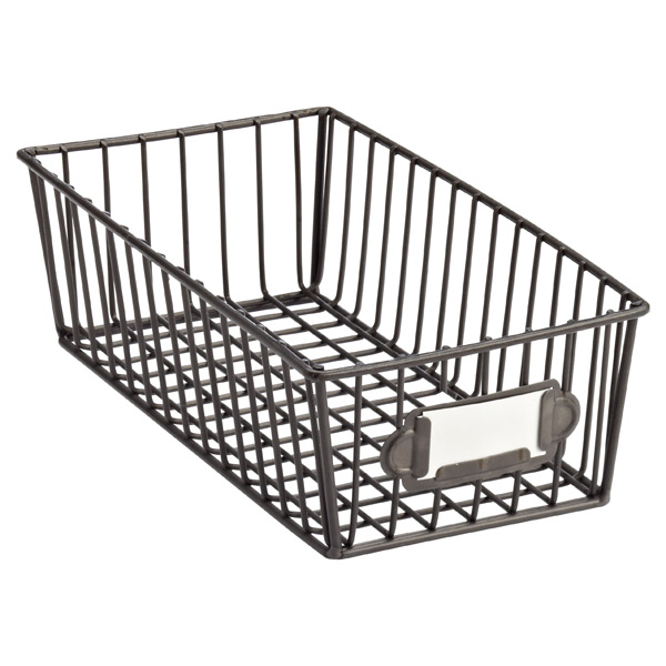 small wire storage basket the container store. Black Bedroom Furniture Sets. Home Design Ideas