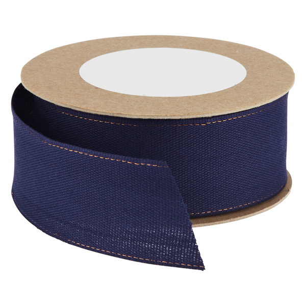 Navy Cotton Wired Ribbon