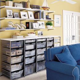 White & Platinum Game Room Shelves
