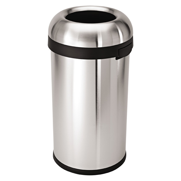 simplehuman stainless steel 15 8 gal bullet open trash can the container store. Black Bedroom Furniture Sets. Home Design Ideas
