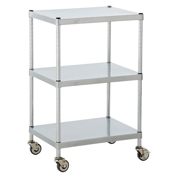 Solid Shelf Serving Cart Silver