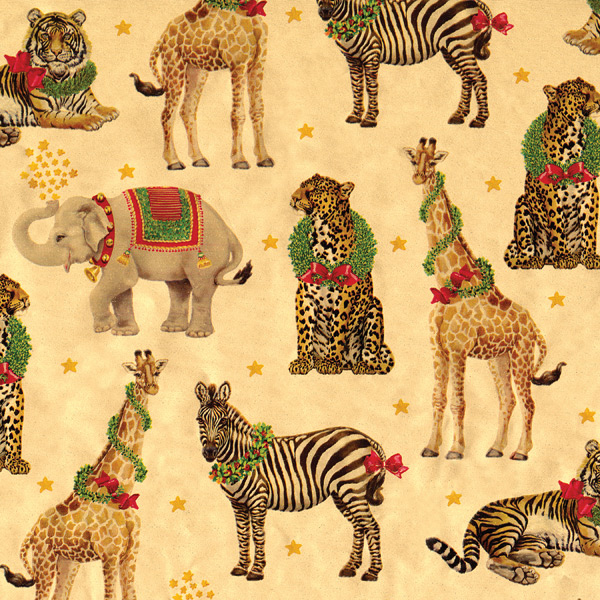 Wild Holiday Animals Wrapping Paper